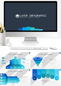 65页扁平多配色设计ppt图形图表图案ppt模板